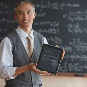 Teaching online, guy with tablet